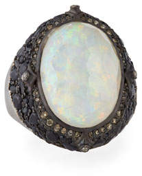 Armenta New World Blackened Silver Opal Triplet Ring with Diamonds