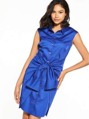 Closet Tie Waist Shirt Dress - Blue