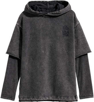 H&M Double-sleeved Hooded Shirt - Black