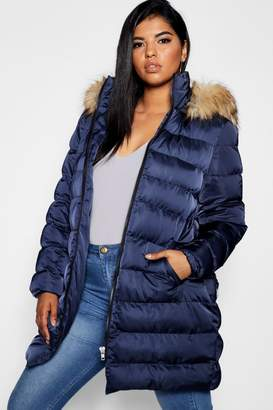 boohoo Plus Belted Faux Fur Hood Puffer Long Coat