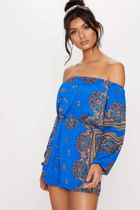 925b58ea39d Next Womens PrettyLittleThing Scarf Print Long Sleeve Playsuit