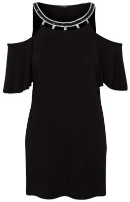bcd51aeabd at George @ ASDA · Bell George Black Embellished Cold Shoulder Top