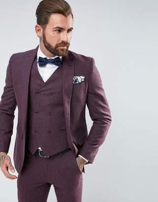 Asos Design Wedding Skinny Suit Jacket in Berry Wool Mix