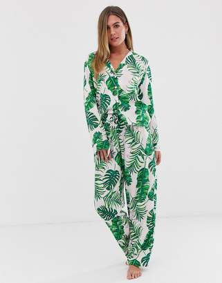 Asos Design DESIGN palm print pyjama pants set in 100% modal