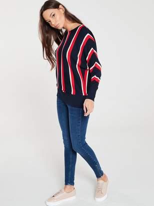 Wallis Vertical Stripe Batwing Jumper - Navy Red