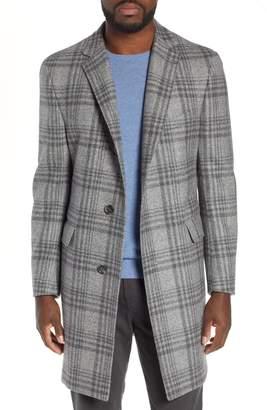 Hickey Freeman Plaid Wool Overcoat