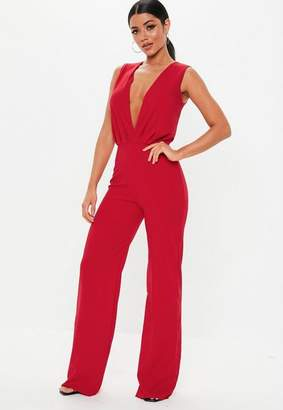 Missguided Tall Red Wrap Front Wide Leg Jumpsuit, Red