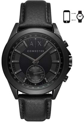 AX Armani Exchange Connected Leather Strap Hybrid Smartwatch, 44mm