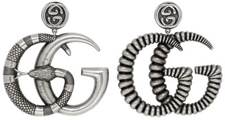 Gucci Silver and Black GG Marmont Earrings