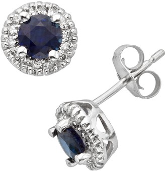 The Regal Collection 14k White Gold Genuine Sapphire & 1/6-ct. T.W. IGL Certified Diamond Frame Stud Earrings