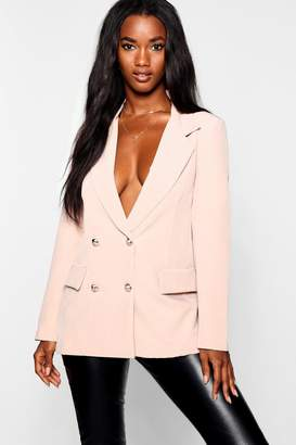 boohoo Double Breasted Boxy Military Blazer