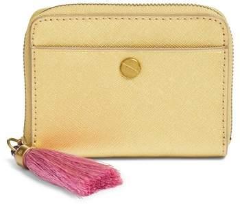 J.crew Saffiano Italian Leather Card Case With Tassel - Metallic