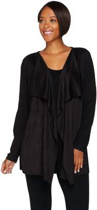 Joan Rivers Classics Collection Joan Rivers Faux Suede Front Popcorn Knit Cardigan