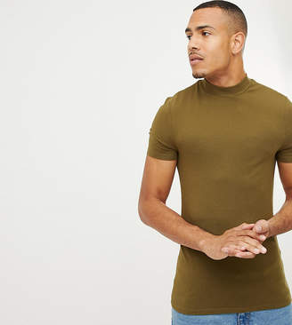 Asos DESIGN Tall muscle fit t-shirt with turtleneck in green