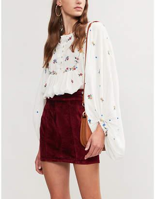 Free People High-rise velvet mini skirt