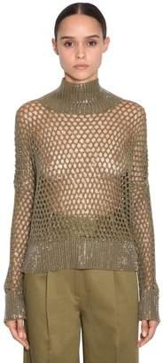 Ermanno Scervino Crystal Embellished Open Knit Turtleneck