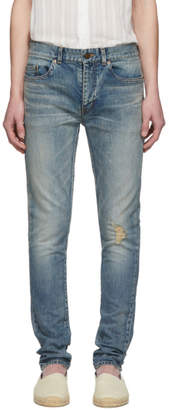 Saint Laurent Blue Low-Rise Skinny Jeans