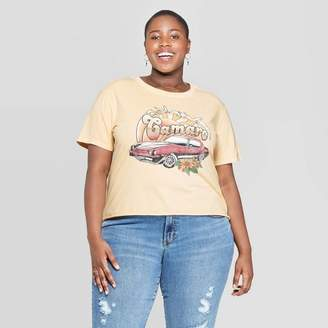 General Motors Women's Plus Size Short Sleeve Camaro Cropped Graphic T-Shirt - Mighty Fine (Juniors') - Cream Wash