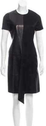 Reed Krakoff Leather-Trimmed Knee-Length Dress