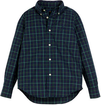 Ralph Lauren Childrenswear Poplin Plaid Button-Down Shirt, Size 5-7