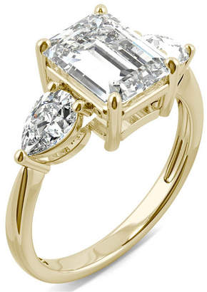 Charles & Colvard Moissanite Emerald Three Stone Ring (3-3/8 ct. tw.) in 14k Yellow Gold