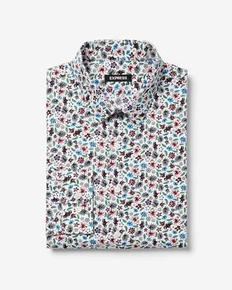 Express Slim Floral Patterned Dress Shirt