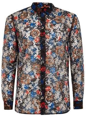 Topman Mens Blue Floral Lace Slim Shirt
