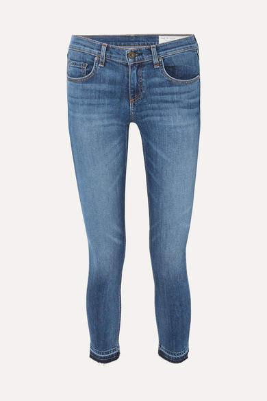 Dre Capri Distressed Mid-rise Skinny Jeans - Mid denim