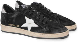 Golden Goose Ball Star Distressed Suede And Leather Sneakers - Black