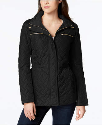 Cole Haan Faux-Leather-Trim Quilted Anorak