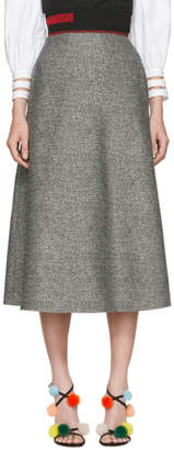 Fendi Black and White Houndstooth Skirt
