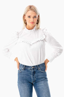 Rebecca Taylor La Vie by Long Sleeve Poplin Ruffle Top