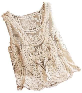 Vonfon Women Lace Floral Sleeveless Crochet Knit Vest Tank Top Shirt Blouse Extra Large