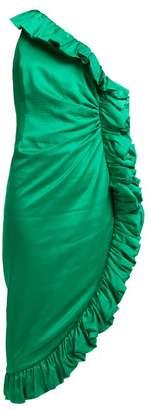 Attico - One Shoulder Ruffle Trimmed Satin Dress - Womens - Green