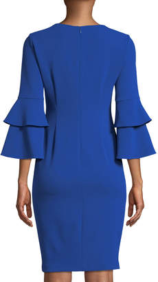 Iconic American Designer Tiered-Sleeve V-Neck Sheath Dress