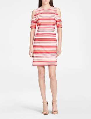 Calvin Klein cold-shoulder striped sheath dress