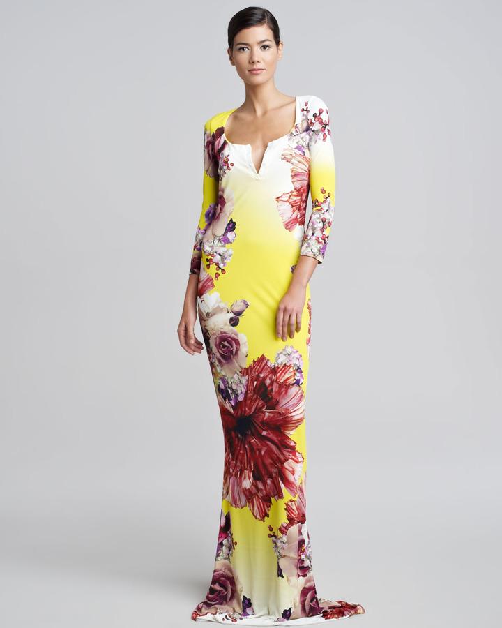 Roberto Cavalli Floral-Print Long Dress