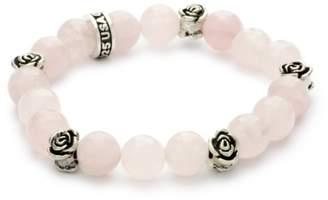 King Baby Studio 10mm Rose Quartz Bead Bracelet with Roses