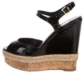 Gucci Patent Leather Platform Wedge Sandals