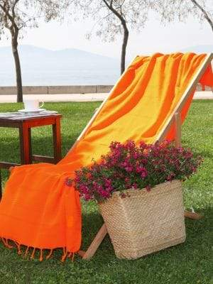 Linum Home Textiles Pestemal Dark Orange Turkish Cotton Fringed Beach Towel