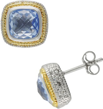 Siri Usa By Tjm SIRI USA by TJM 14k Gold Over Silver & Sterling Silver Simulated Blue Quartz Square Frame Stud Earrings