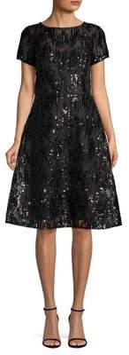 Aidan Mattox Sequin Mesh Fit-&-Flare Cocktail Dress
