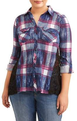EYE CANDY Women's Plus Size Button Up Shirt with Lace Back