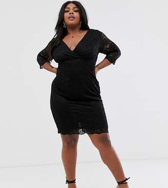 Paper Dolls Plus wrap front long sleeve lace pencil dress in black