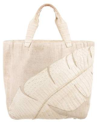 Nancy Gonzalez Crocodile-Accented Canvas Tote