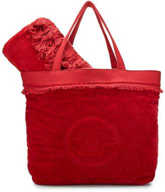 Chanel Red Velour & Terry Cloth Beach Set