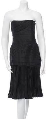 Lanvin Accordion Pleated Strapless Dress
