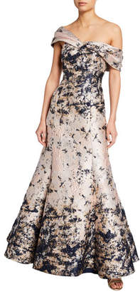 f67cab6e393 Aidan Mattox Off-the-Shoulder Brocade Mermaid Gown