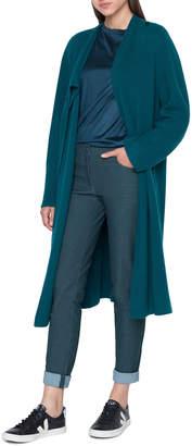 Akris Asymmetric Long Rib Open Cashmere Cardigan Sweater