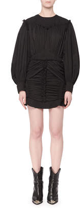 Isabel Marant Volume-Sleeve Cinch-Waist Gathered Mini Dress